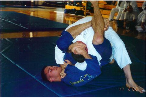 James Clingerman gets a triangle choke at a Brazilian Jiu-Jitsu State Championship.