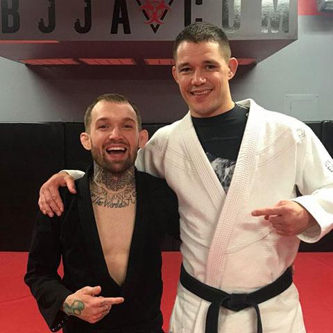 Indiana Brazilian Jiu-Jitsu Academy Coach James Clingerman with Atos black belt Kristain Woodmansee.