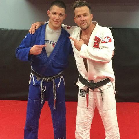 Indiana Brazilian Jiu-Jitsu Academy Coach James Clingerman with Sean Patrick Flanery.