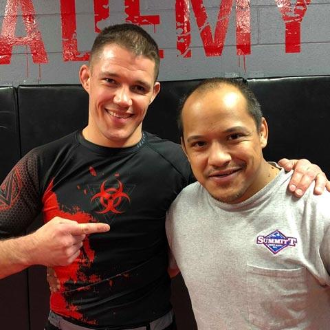 Indiana Brazilian Jiu-Jitsu Academy Coach James Clingerman with Christopher Griffin.