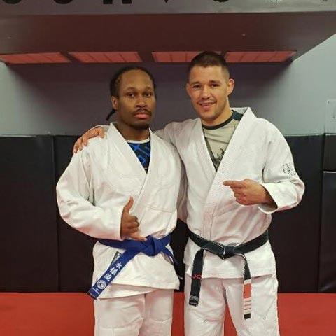 Indiana Brazilian Jiu-Jitsu Academy Coach James Clingerman with Elvis Davis.