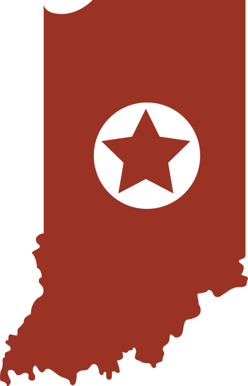 Drawing of the state of Indiana, with a star in the middle