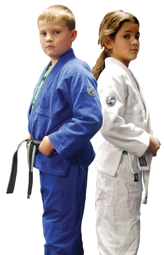Photo of two kids in Brazilian Jiu-Jitsu gis, standing back-to-back