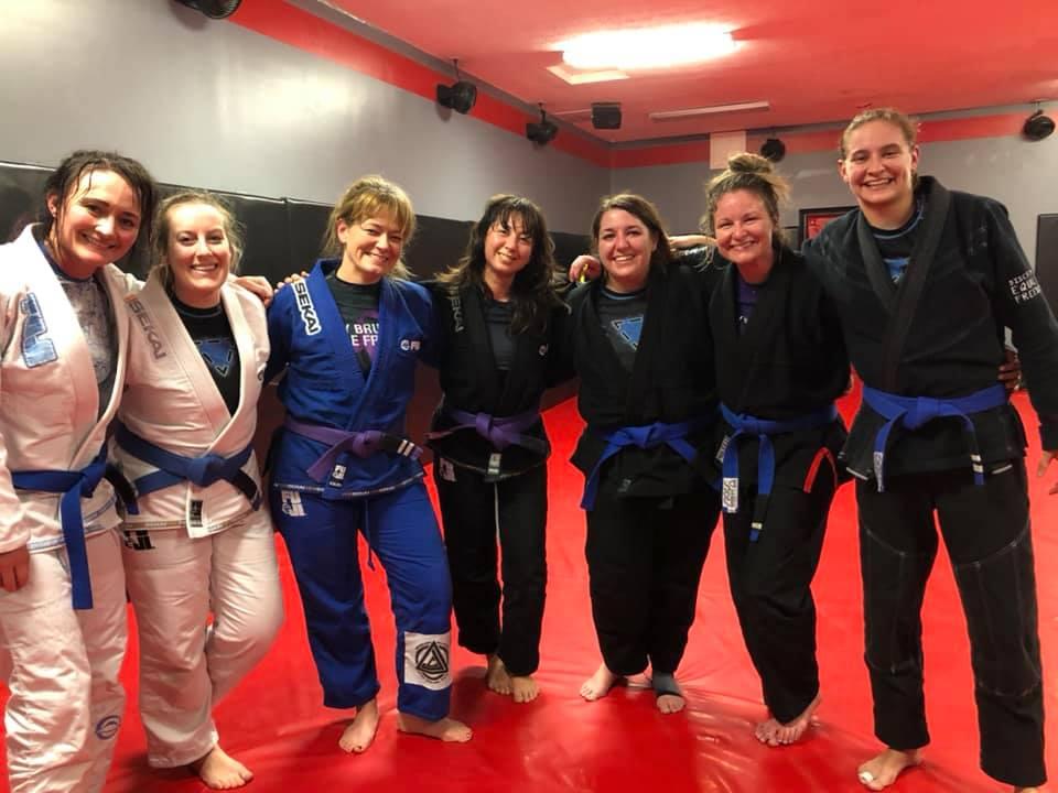 Photo of blue belts and purple belts at Indiana Brazilian Jiu-Jitsu Academy