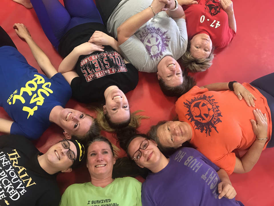 Photo of the women in the Women's-Only Bootcamp class at Indiana Brazilian Jiu-Jitsu Academy